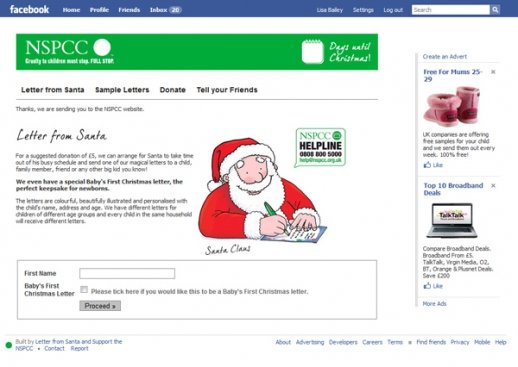 Nspcc facebook application web design portfolio presence on facebook by posting a message to users news feed it they show an interest in sending a letter from santa to a loved one at christmas spiritdancerdesigns Image collections